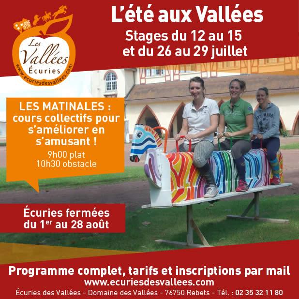 stage équitation les vallées rouen juillet 2017
